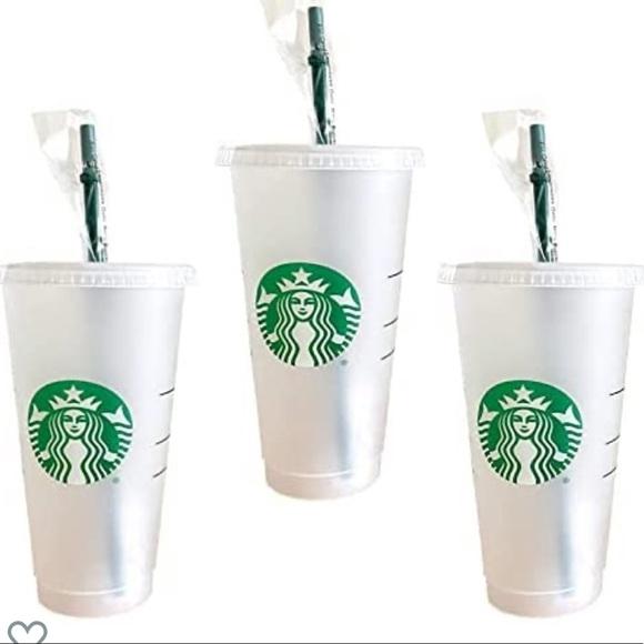 New 3 Starbucks reusable hard plastic venti cups